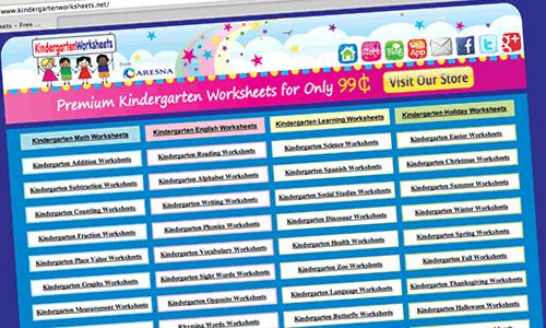 Screenshot of the Kindergarten Worksheets Website