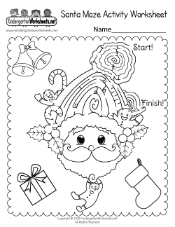 Santa Maze Activity Worksheet