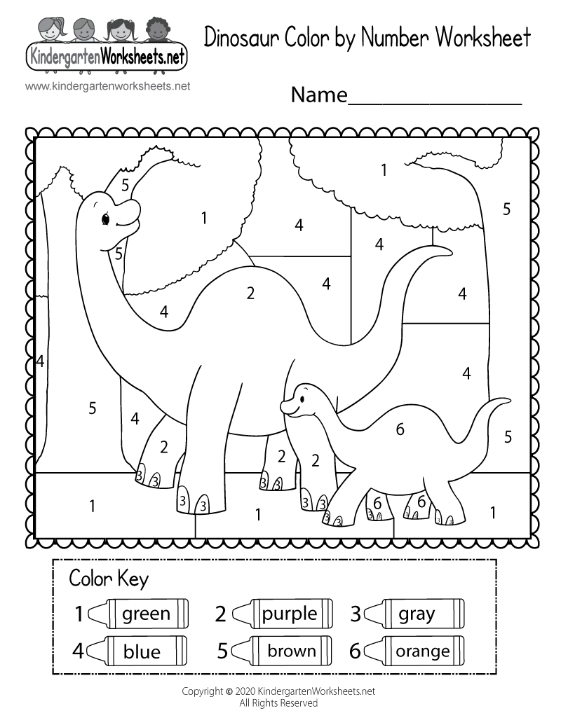 Dinosaur Color by Number Worksheet