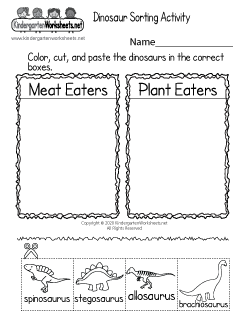 Dinosaur Sorting Activity Worksheet