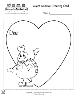 Valentine's Day Greeting Card Worksheet