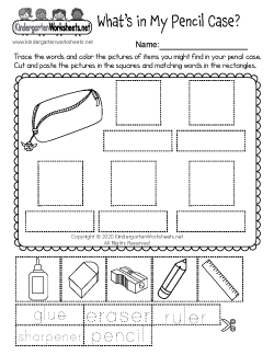 What's in My Pencil Case? Worksheet