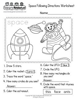 Space Following Directions Worksheet
