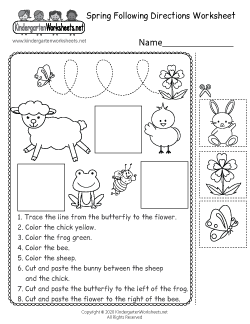 Spring Following Directions Worksheet