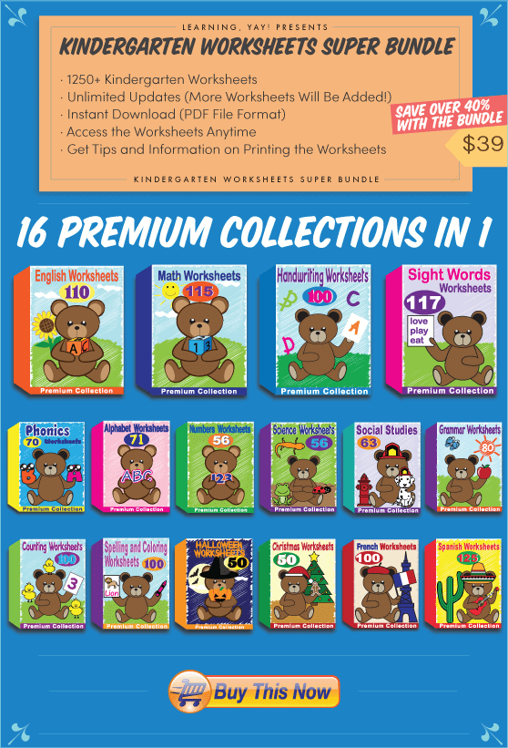 Kindergarten Worksheets Super Bundle