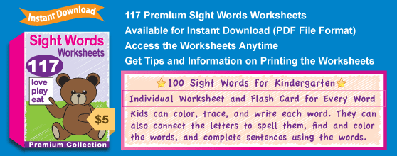 Premium Sight Words Worksheets Collection Details