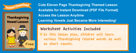 Thanksgiving Vowel Lesson Details
