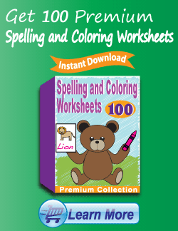 Get the Premium Spelling and Coloring Worksheets Package