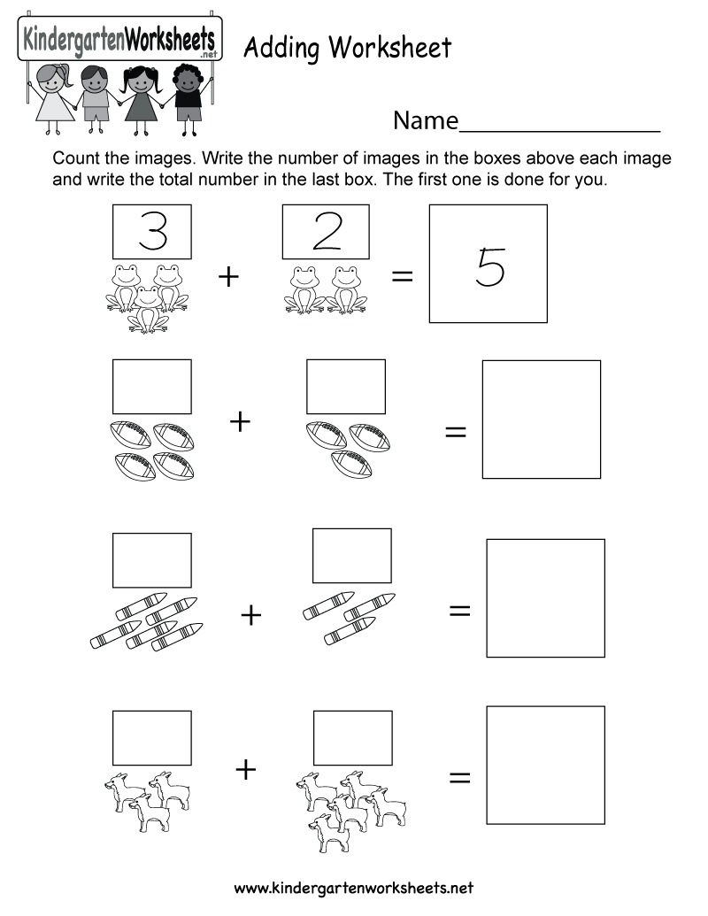 Free Kindergarten Addition Worksheets Learning to Add Through – Addition Worksheet for Kids