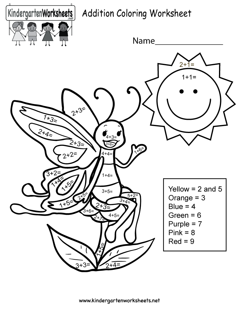 Addition Coloring Worksheet - Free Kindergarten Math Worksheet for Kids