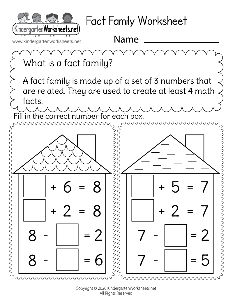 Addition Family Worksheet - Free Kindergarten Math Worksheet for Kids