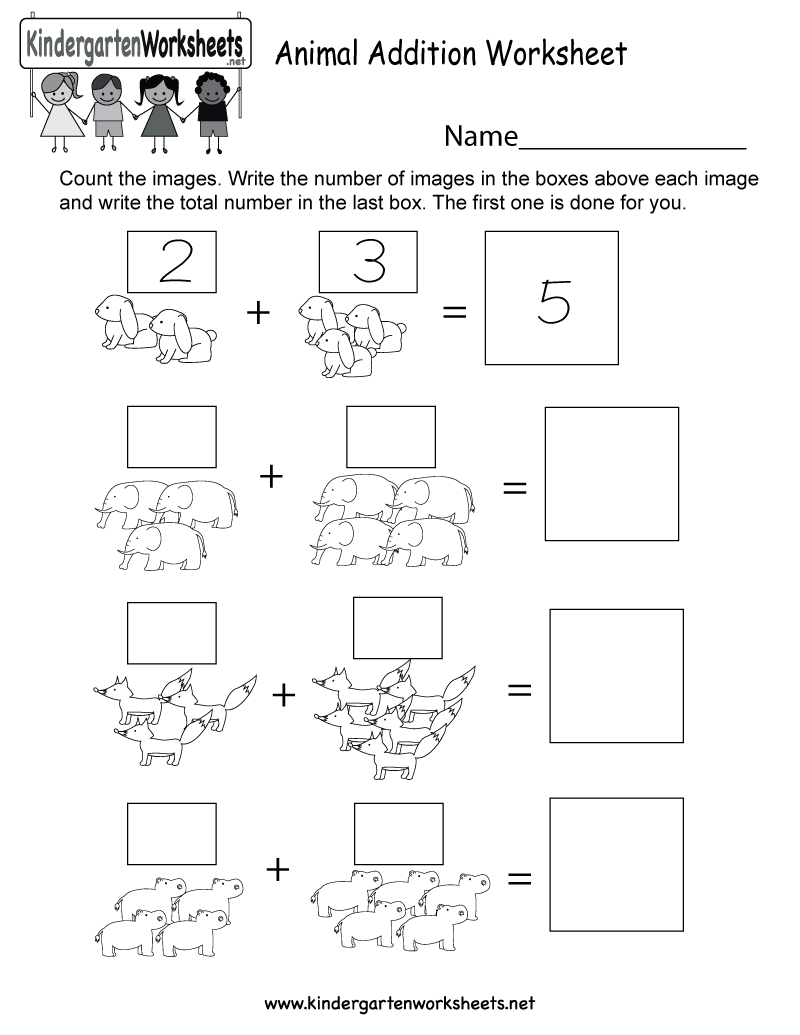 Animal Addition Worksheet - Free Kindergarten Math Worksheet for Kids