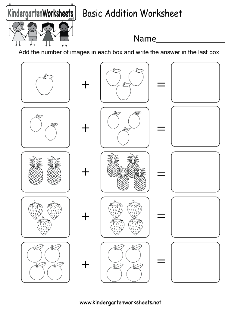 Basic Addition Worksheet - Free Kindergarten Math Worksheet for Kids