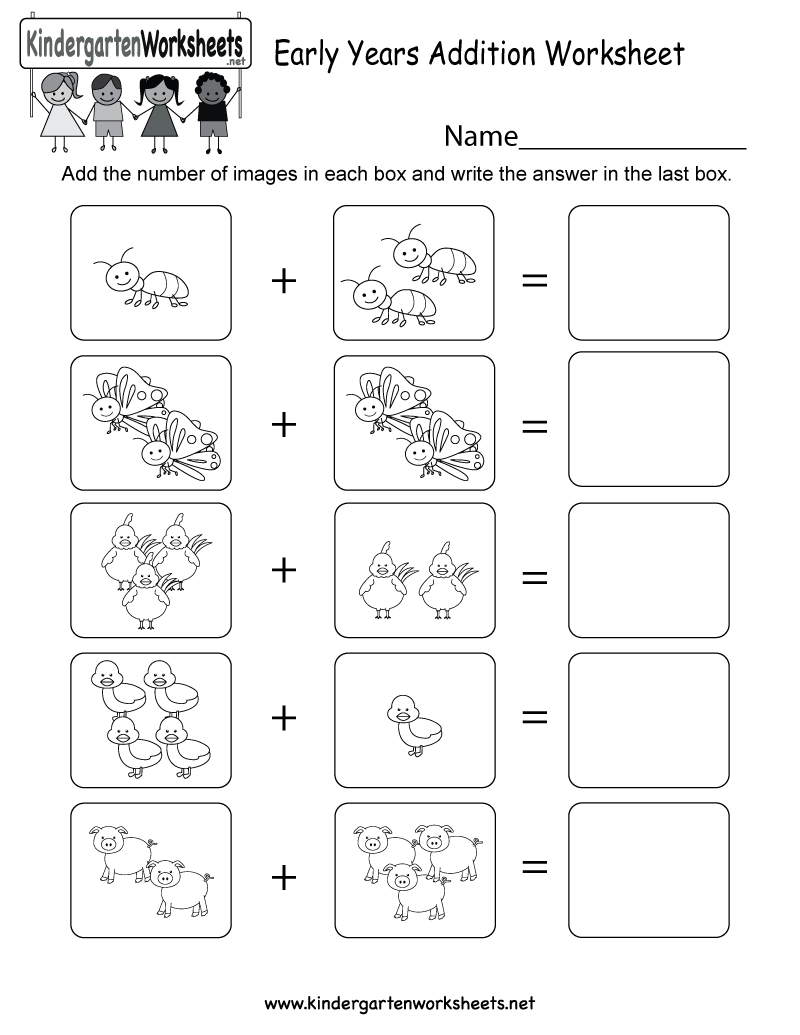 Kindergarten Early Years Addition Worksheet Printable