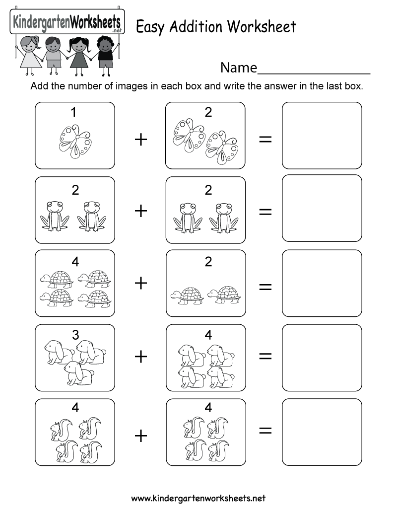 Free Printable Easy Addition Worksheet for Kindergarten