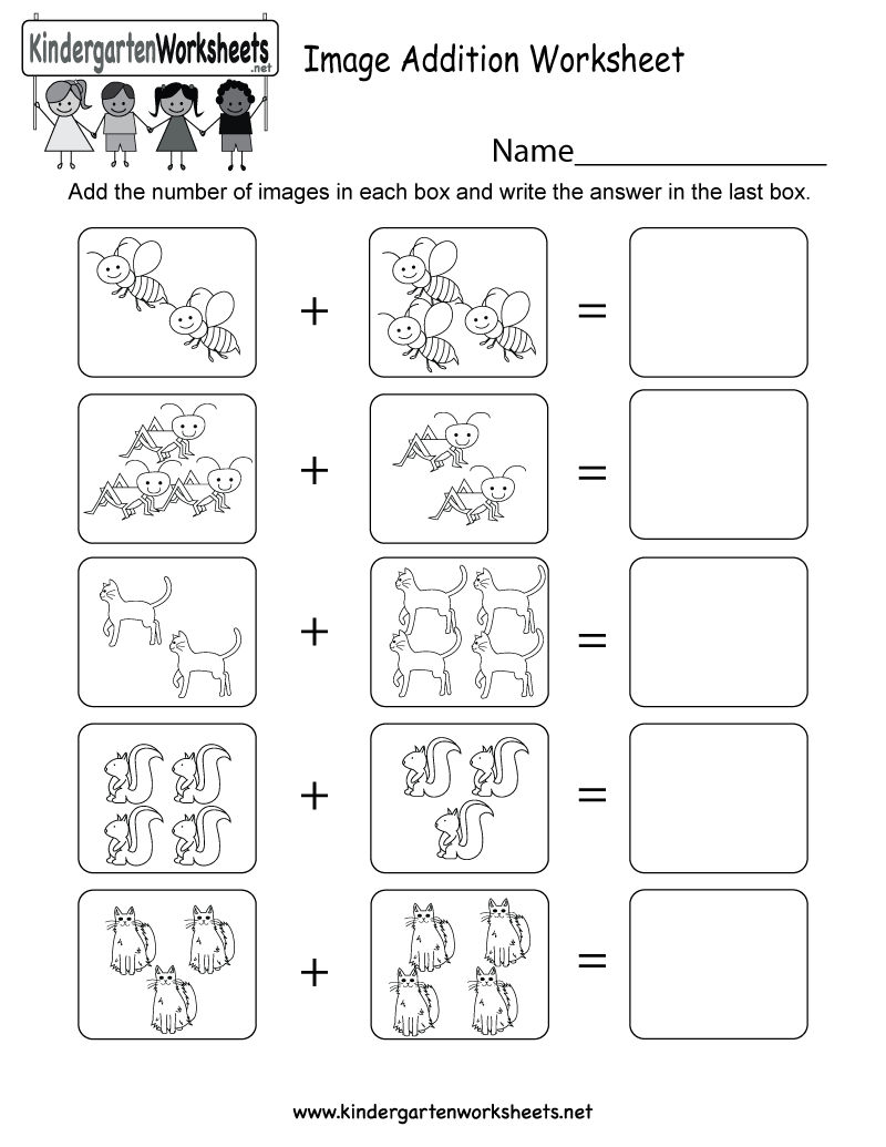 math worksheet : image addition worksheet  free kindergarten math worksheet for kids : Addition Worksheets For Kindergarten Free