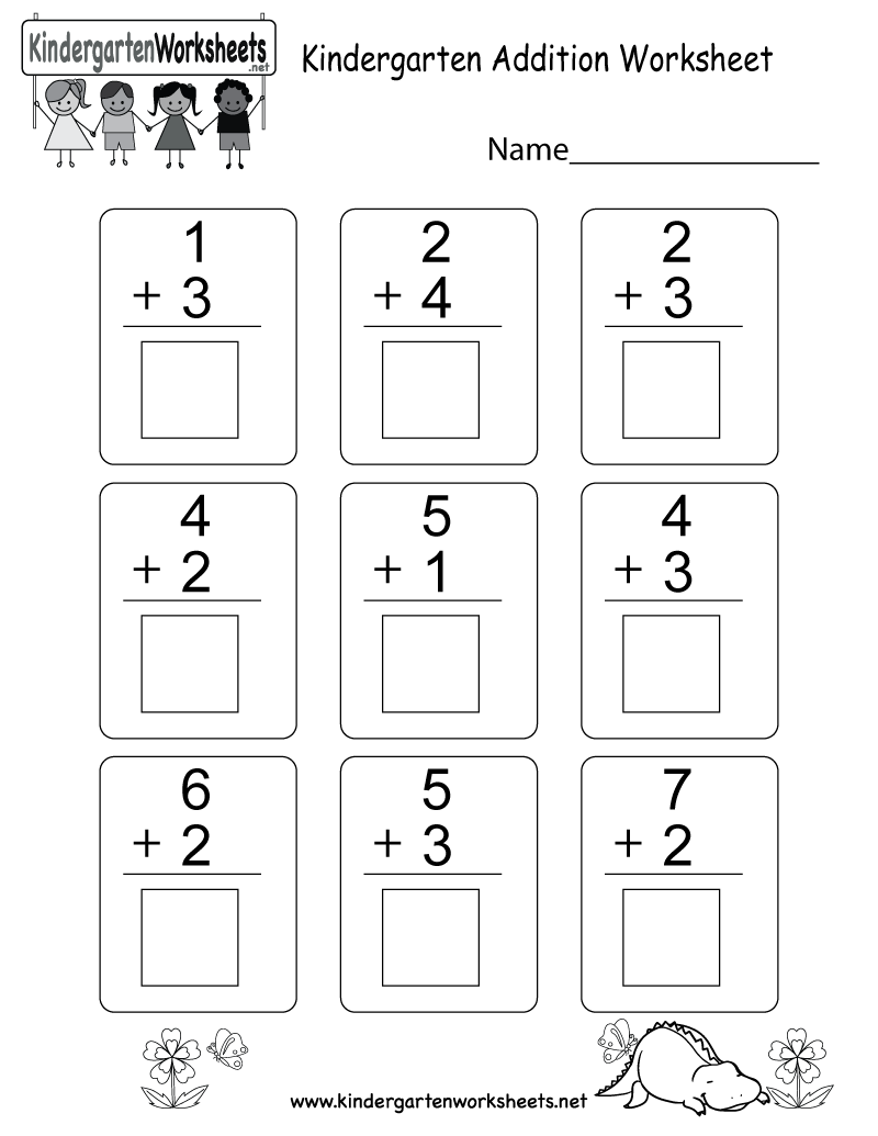 {Free Printable Kindergarten Addition Worksheet – Print Kindergarten Worksheets