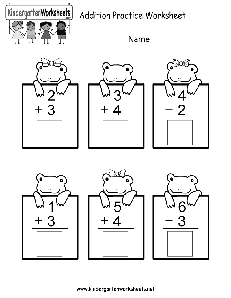 Practice Adding Math Worksheet - Free Kindergarten Worksheet for Kids