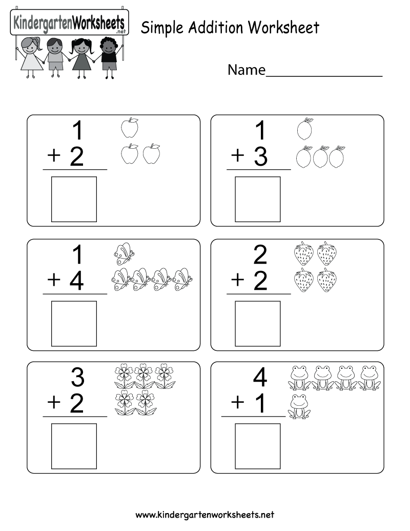 Simple Addition Worksheet - Free Kindergarten Math Worksheet for Kids