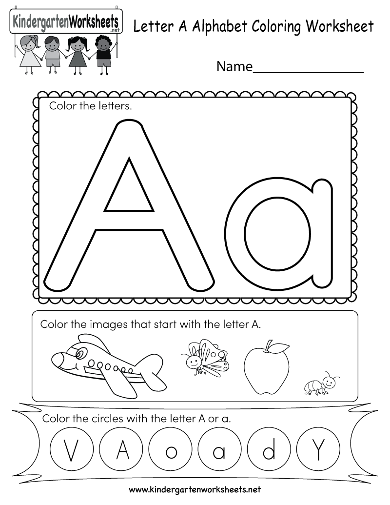Kindergarten Letter A Coloring Worksheet Printable