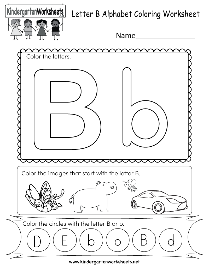 Letter B Coloring Worksheet - Free Kindergarten English Worksheet ...
