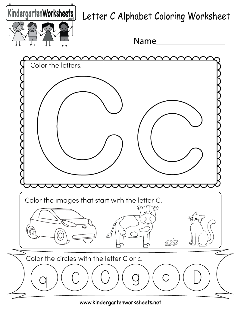 Letter C Coloring Worksheet - Free Kindergarten English Worksheet ...