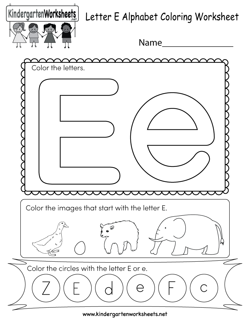 Letter E Coloring Worksheet - Free Kindergarten English Worksheet for ...