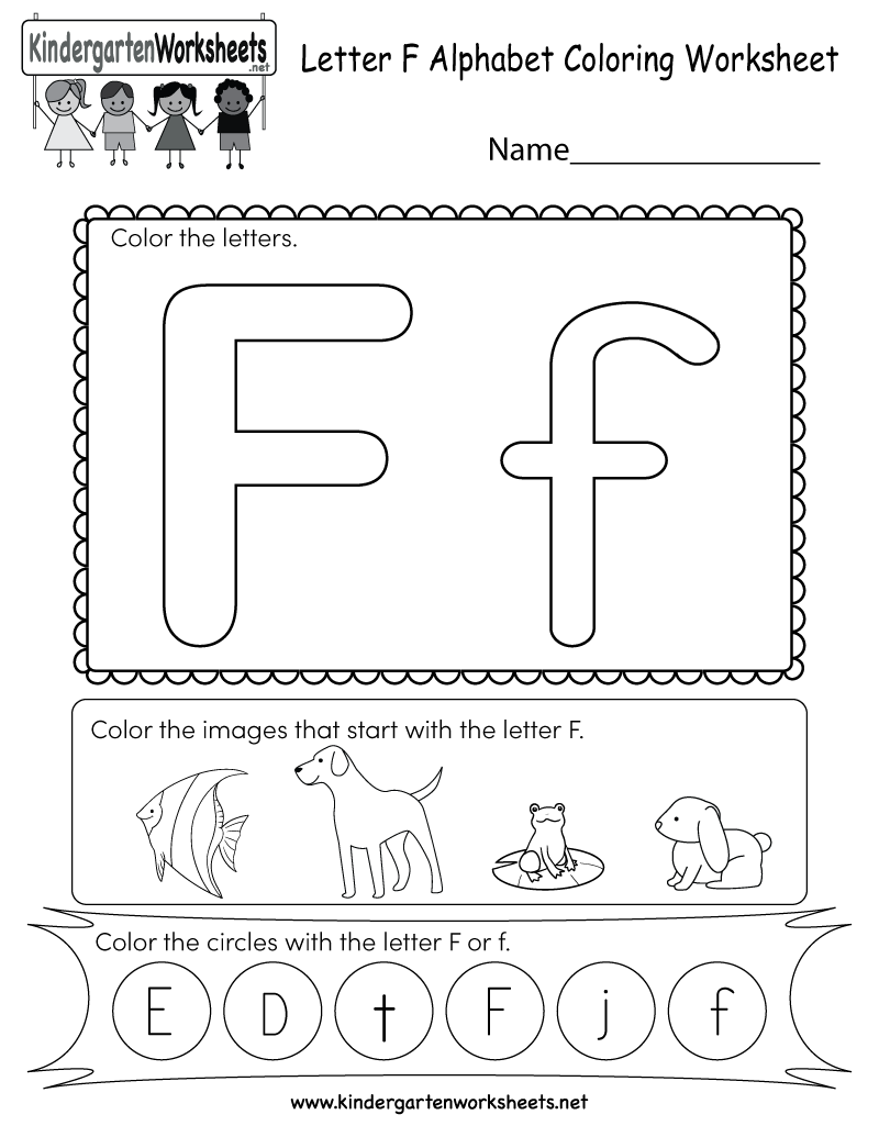Letter F Coloring Worksheet - Free Kindergarten English Worksheet ...