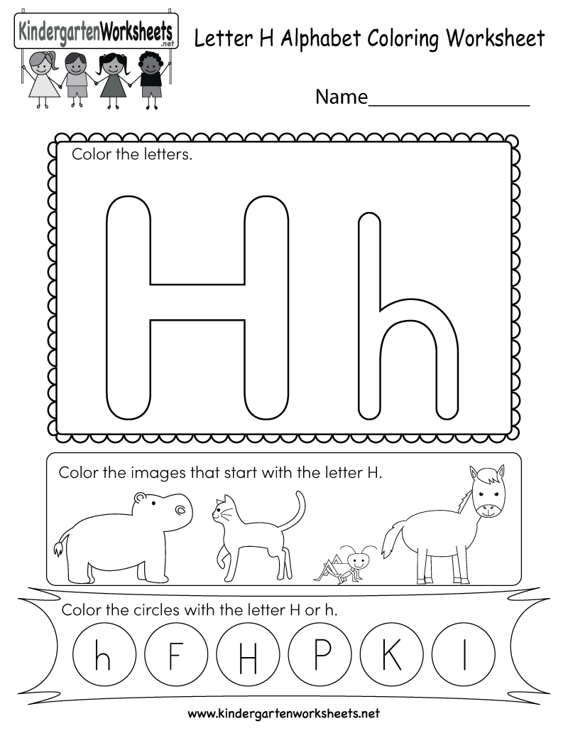 Free Printable Letter H Coloring Worksheet for Kindergarten