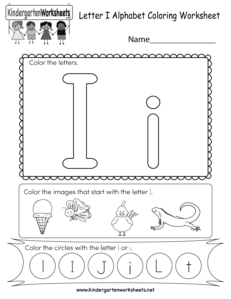 letter i coloring worksheet free kindergarten english worksheet for kids. Black Bedroom Furniture Sets. Home Design Ideas
