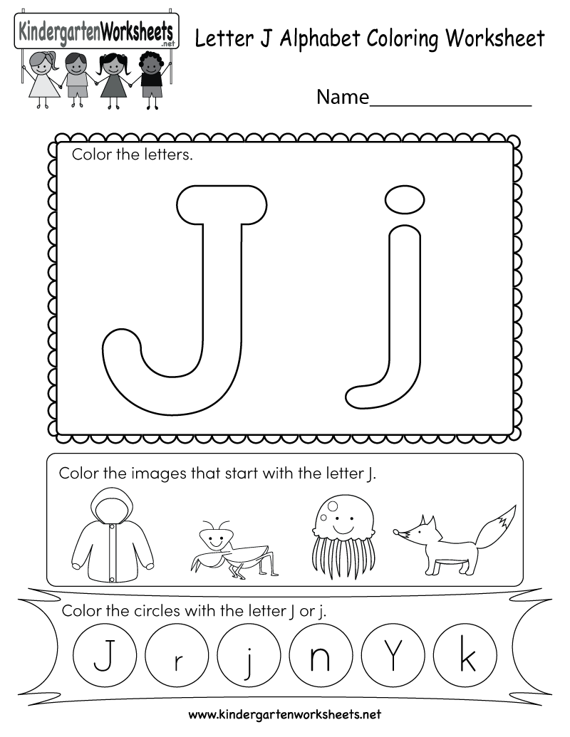 graphic relating to Letter J Printable identify No cost Printable Letter J Coloring Worksheet for Kindergarten