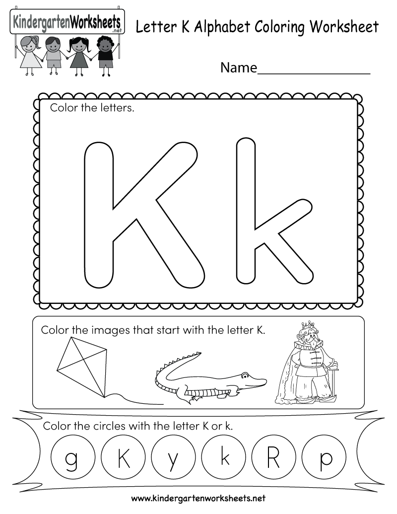 Letter K Coloring Worksheet - Free Kindergarten English Worksheet for ...
