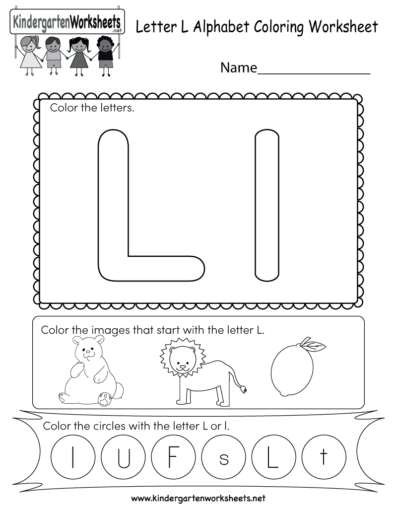 Letter L Coloring Worksheet - Free Kindergarten English Worksheet for ...