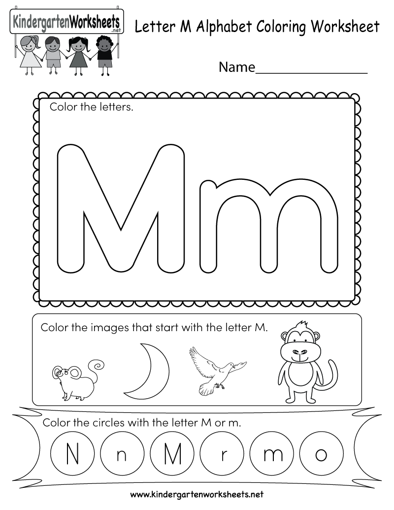 Letter M Coloring Worksheet - Free Kindergarten English Worksheet ...