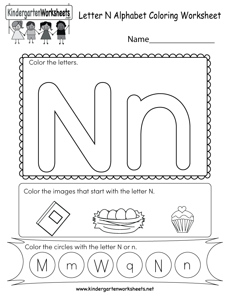 Letter N Coloring Worksheet - Free Kindergarten English Worksheet ...