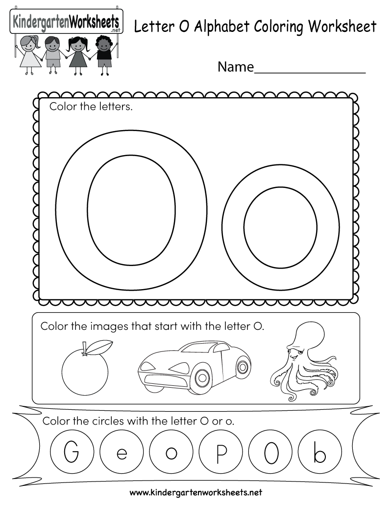 Kindergarten Letter O Coloring Worksheet Printable