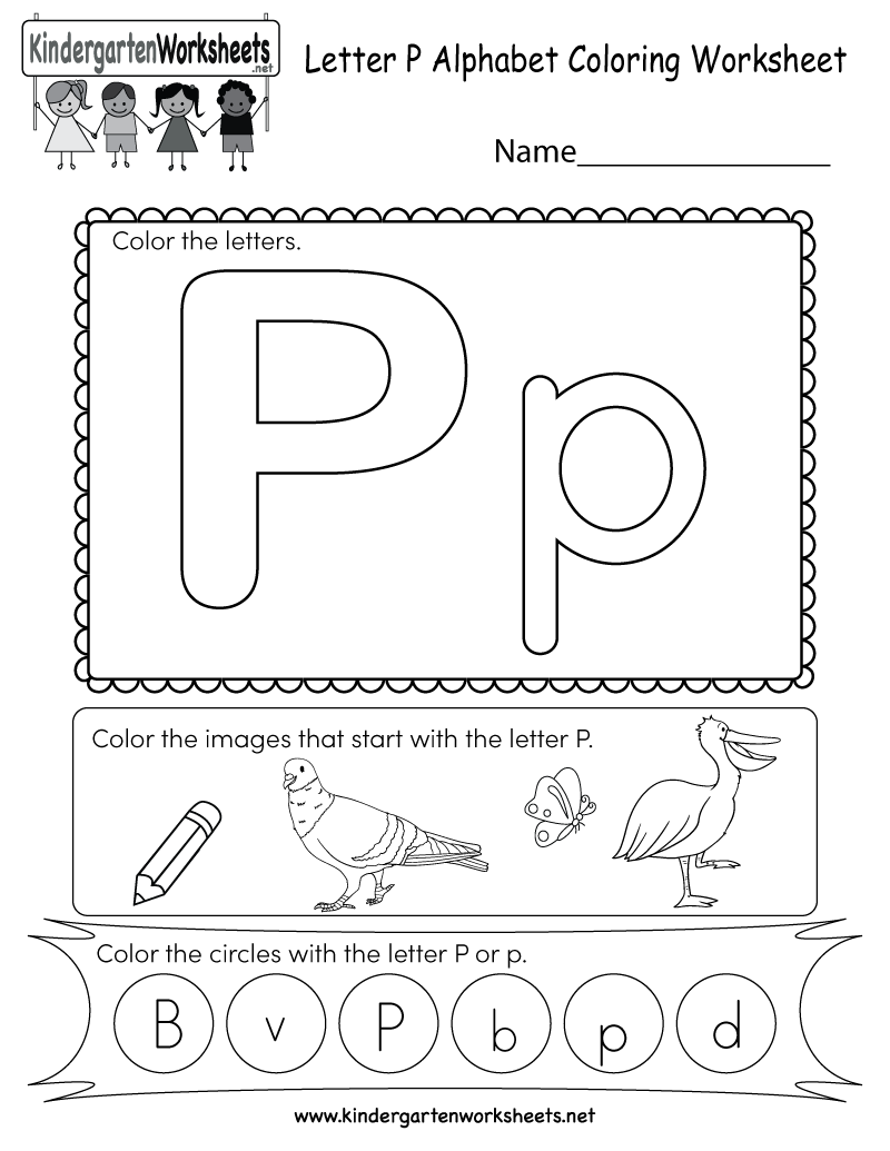 Kindergarten Letter P Coloring Worksheet Printable