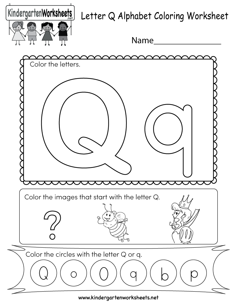 Kindergarten Letter Q Coloring Worksheet Printable