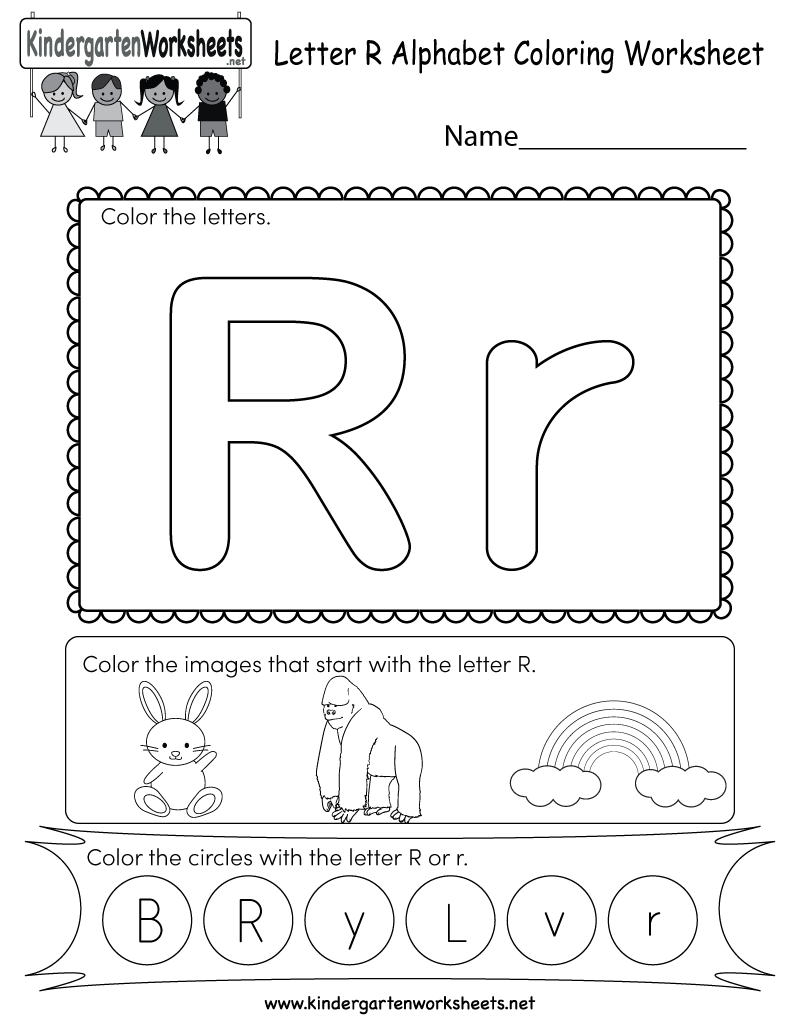 Letter R Coloring Worksheet Free Kindergarten English