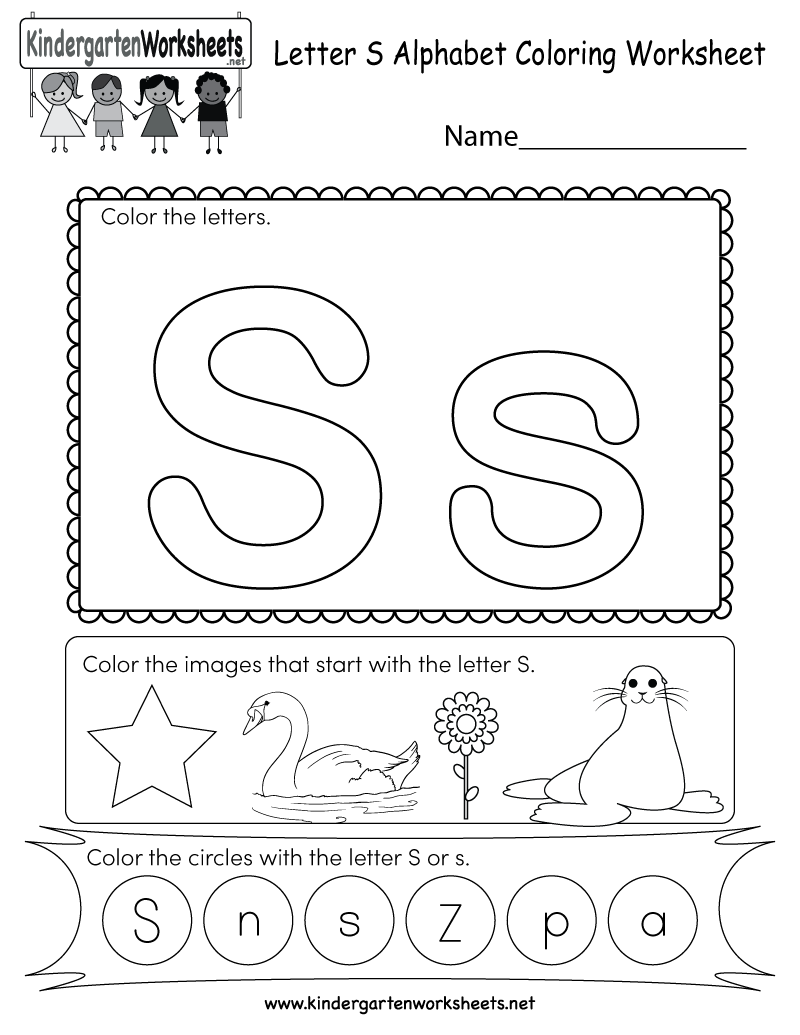letter s coloring worksheet free kindergarten english worksheet for kids. Black Bedroom Furniture Sets. Home Design Ideas