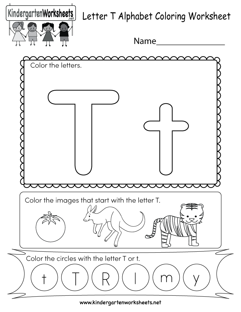 Letter T Coloring Worksheet Free Kindergarten English Worksheet