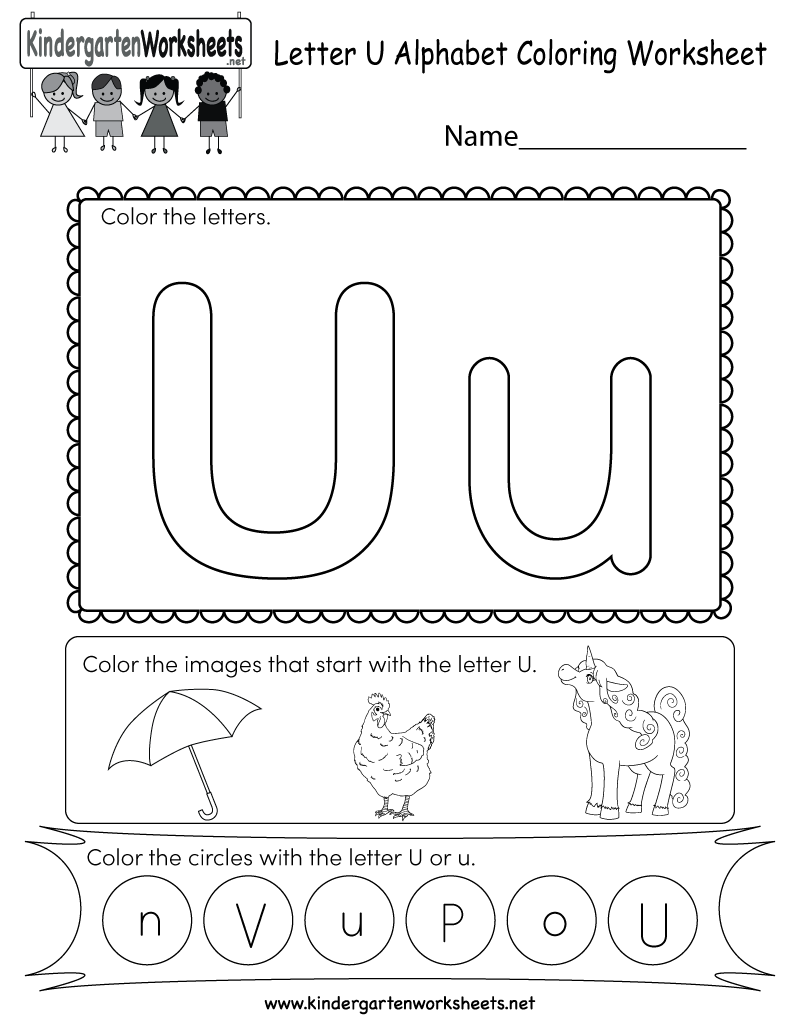 Letter U Coloring Worksheet - Free Kindergarten English Worksheet ...