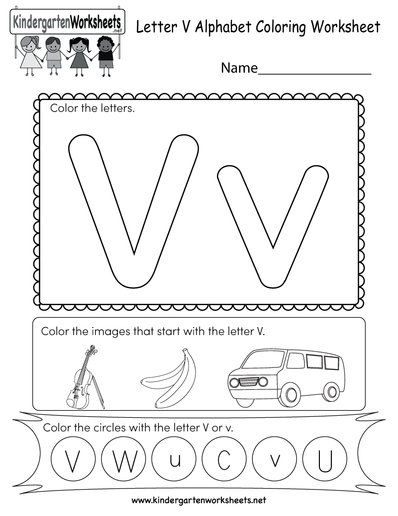Free Printable Letter V Coloring Worksheet for Kindergarten