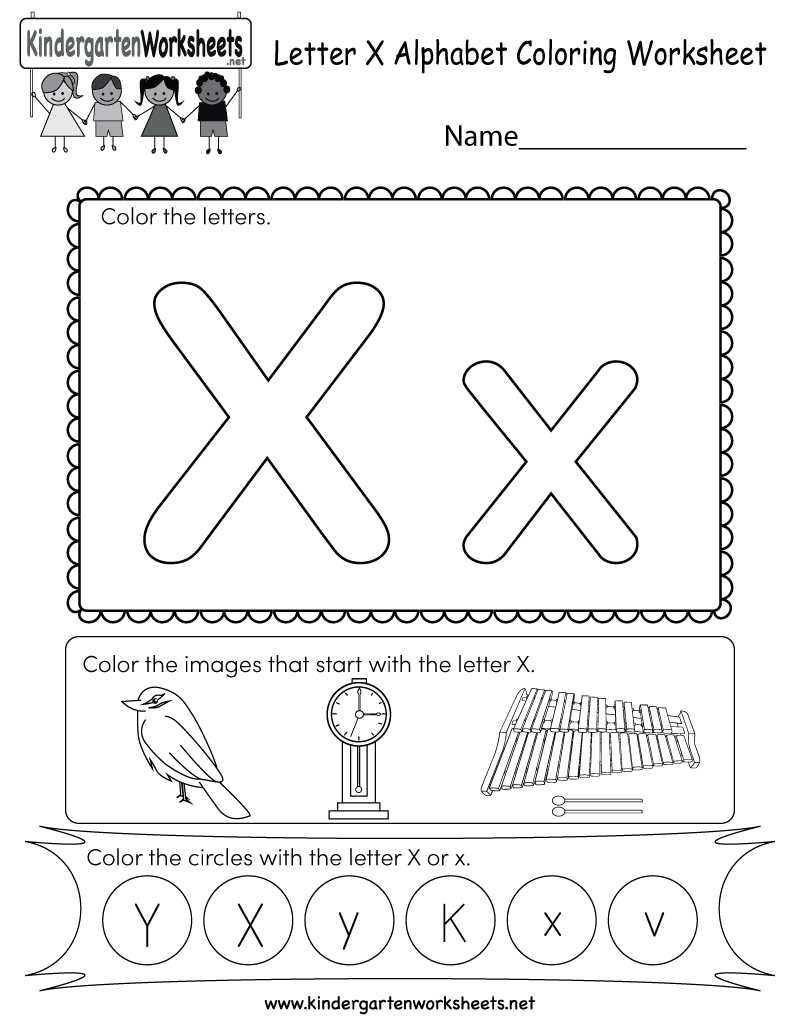 Letter X Coloring Worksheet - Free Kindergarten English Worksheet ...