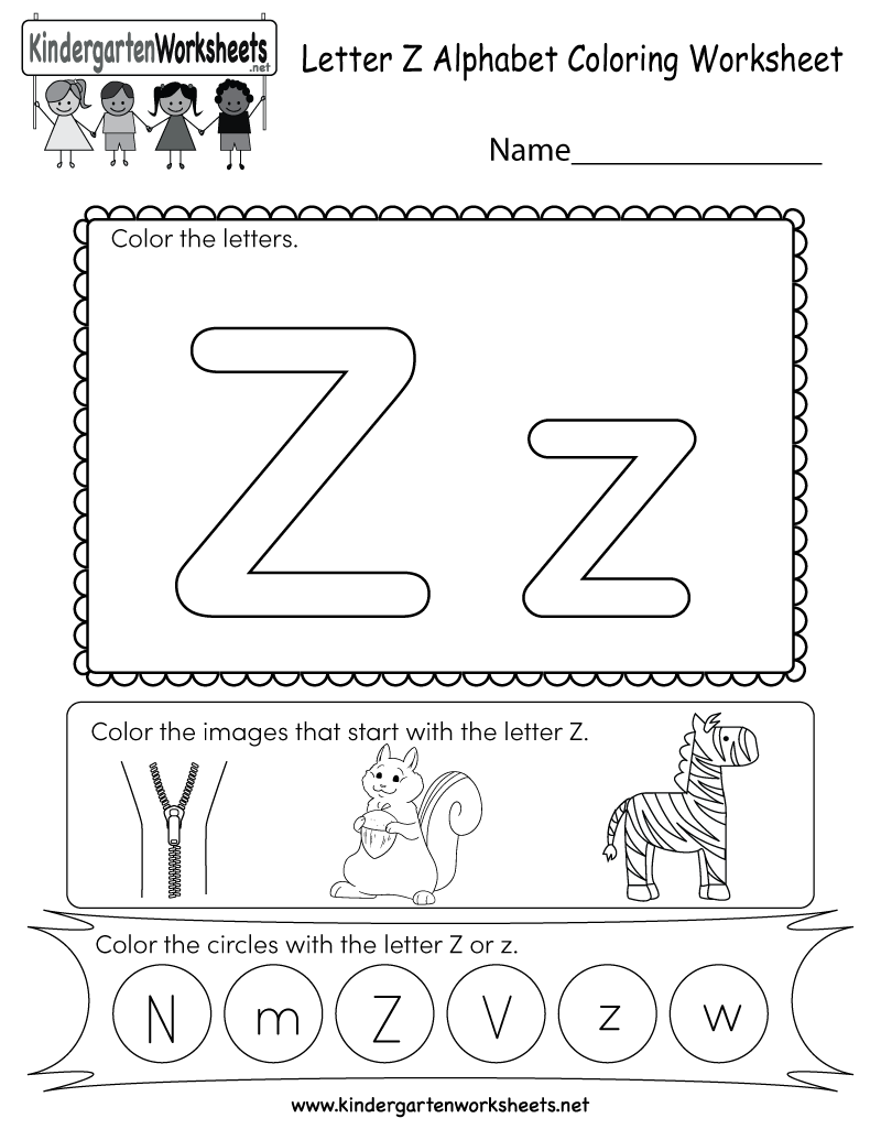Letter Z Coloring Worksheet Free Kindergarten English