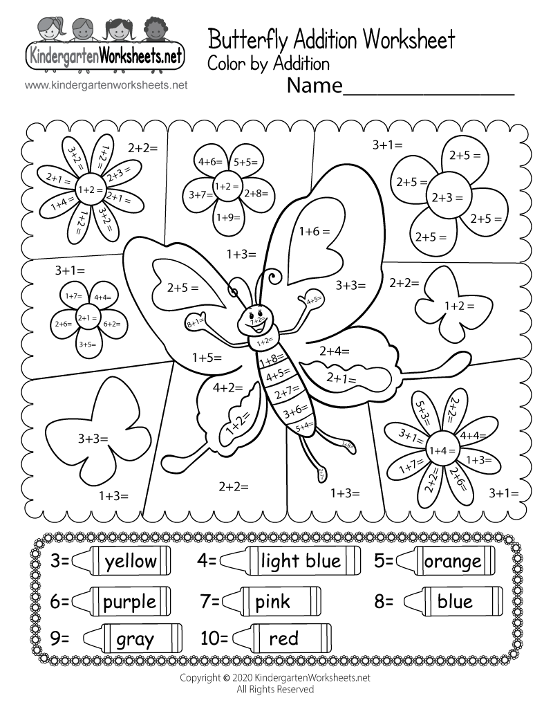 butterfly math adding worksheet free kindergarten learning worksheet for kids. Black Bedroom Furniture Sets. Home Design Ideas