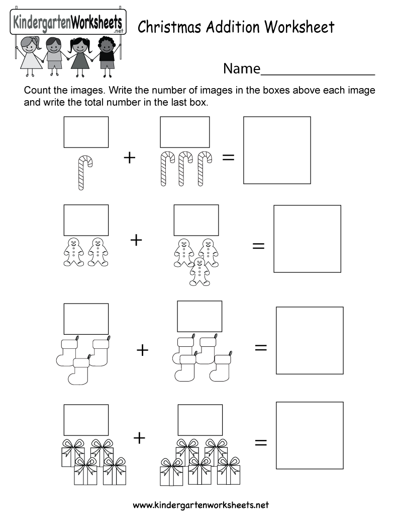 Printable Adding Worksheets Kindergarten : Christmas addition worksheet free kindergarten holiday