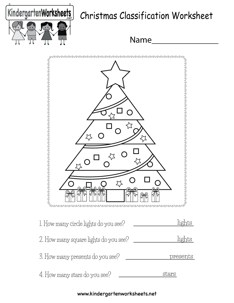 kindergarten christmas classification worksheet printable - Holiday Worksheets For Kindergarten