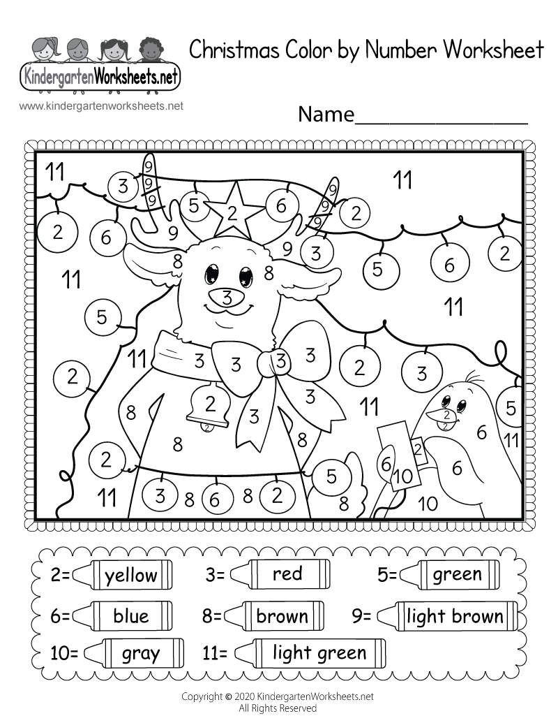 kindergarten christmas coloring worksheet printable