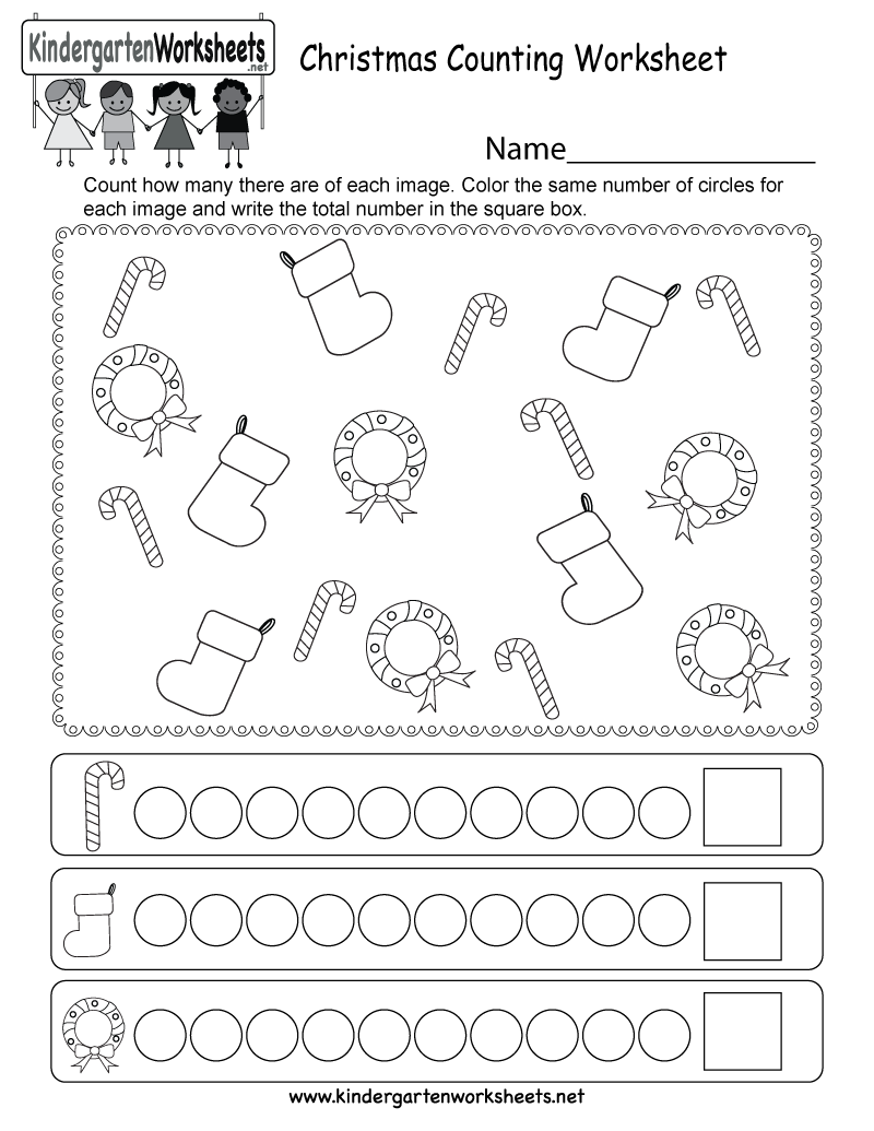 Christmas Counting Worksheet - Free Kindergarten Holiday Worksheet for ...